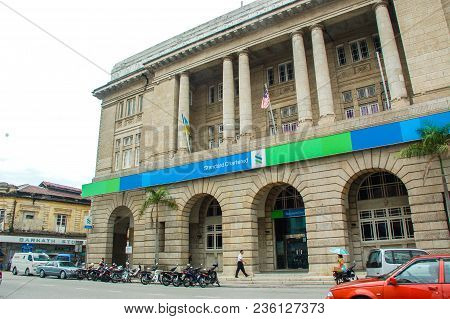 George Town, Malaysia - November 18 : Standard Chartered Bank Office. Standard Chartered Plc Is A Br