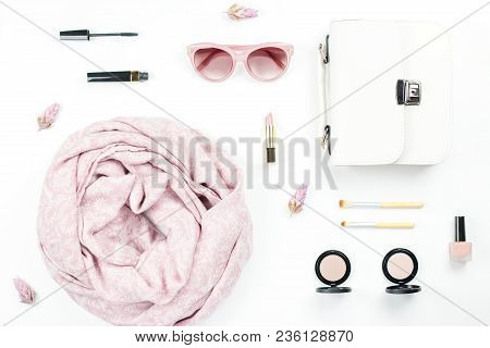 Woman Fashion And Beauty Accessories Flat Lay - White Purse, Pink Sunglasses, Scarf, Cosmetics. Spri