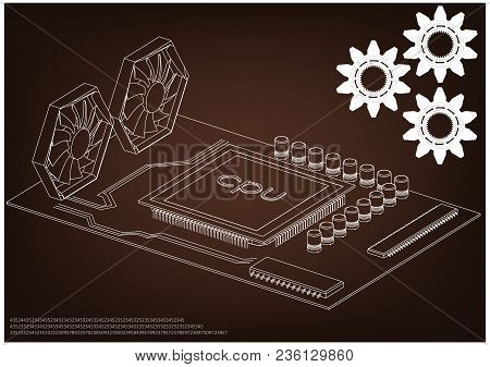 White Motherboard On Brown Background, Vector Image