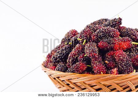 Ripe Mulberry In  Brown Basket Is A Fruit With Vitamins. On White Background Healthy Mulberry Fruit
