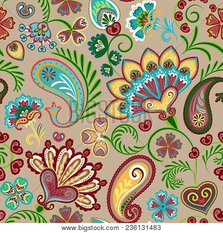 Colorful Seamless Pattern With Fantasy Flowers And Decorative Elements. Paisley. Indian Style. Vecto
