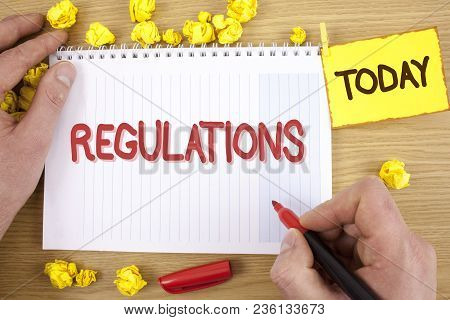 Text Sign Showing Regulations. Conceptual Photo Rules Laws Corporate Standards Policies Security Sta