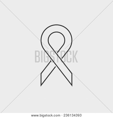 Dark Gray Contour Icon On A Light Gray Background. The Symbol Of The Struggle With Aids. Vector Illu