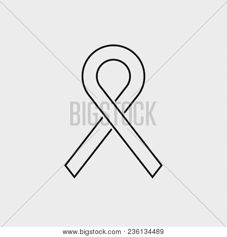 Dark Gray Contour Icon On A Light Gray Background. Ribbon Sign Icon. Breast Cancer Awareness Symbol.