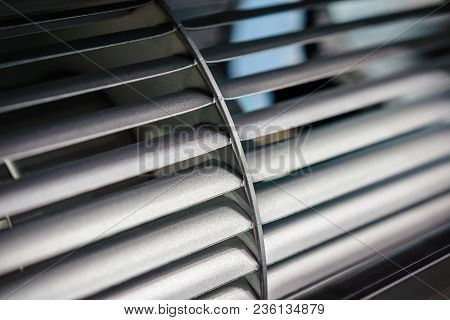 Blades Of The Impeller Of An Industrial Fan. Close-up. Abstract Industrial Background.