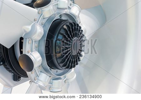 Powerful Industrial Fan. Climatic And Ventilation Technology. Abstract Industrial Background.