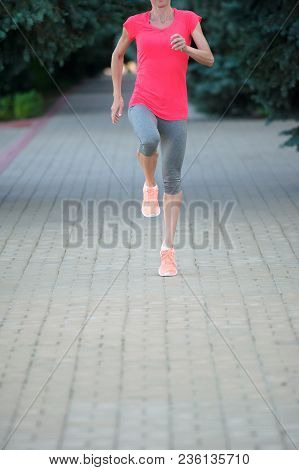 Fitness Jogger Legs Running At Training. Female Fitness Jogging Workout Wellness Concept.