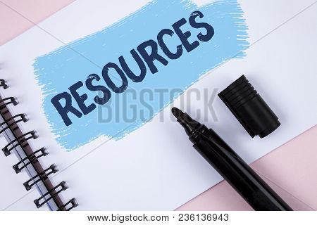 Text Sign Showing Resources. Conceptual Photo Money Materials Staff And Other Assets Needed To Run A