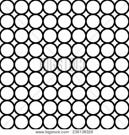 Modern Repeating Seamless Pattern Of Repeat Round Shapes. Black And White Circle Dot Stylish Texture