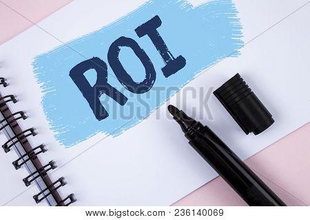 Text Sign Showing Roi. Conceptual Photo Return On Profit Performance Measure Evaluation Of A Busines