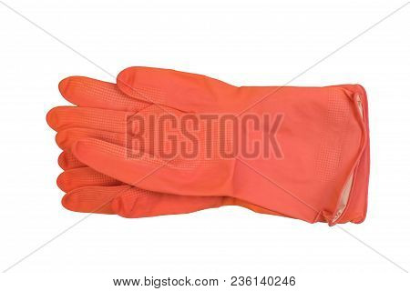 Latex Orange Protective Gloves Isolated On White Background. Protective Coat Hand Gloves