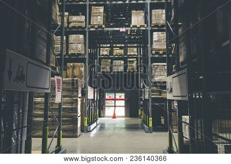 Distribution Storehouse Or Modern Warehouse Exterior With Vintage Tone.low Light Shot