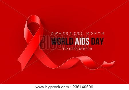 Banner With Aids Awareness Realistic Red Ribbon. World Aids Day Concept On Red Background. Design Te