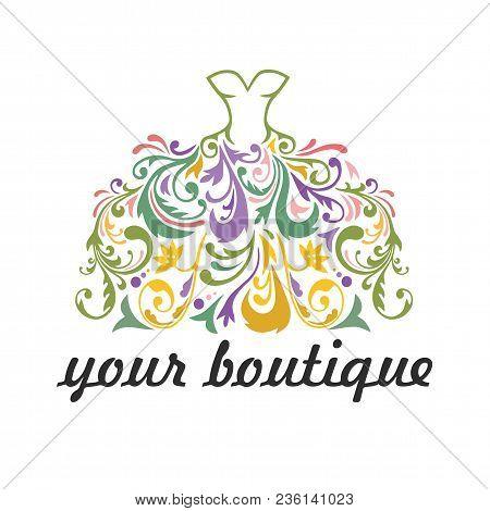 Boutique, Bridal, Dress, Floral Vibrant Colorful Logo Template Illustration Vector Whimsical Design