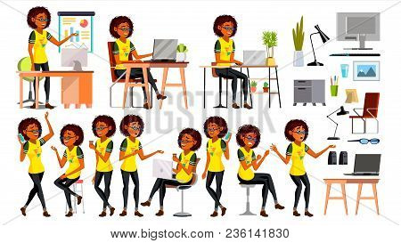 Business African Black Woman Character Vector. American Elegant Modern Girl. Expressions. Working On