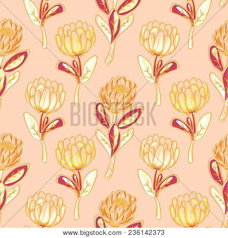 Orange Protea Flower Seamless Vector Pattern. Simple Handdrawn Floral Background.