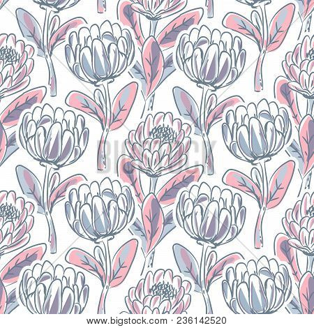 Hand Drawn Protea Flower Seamless Vector Pattern. Artistic Floral Nature Background.