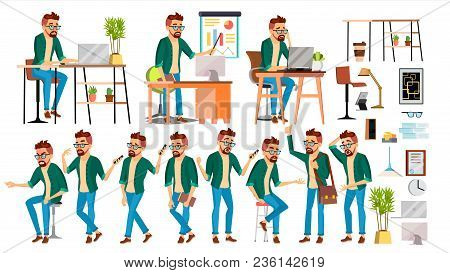 Business Man Character Vector. Hipster Working Man. Environment Process In Start Up Office, Studio.