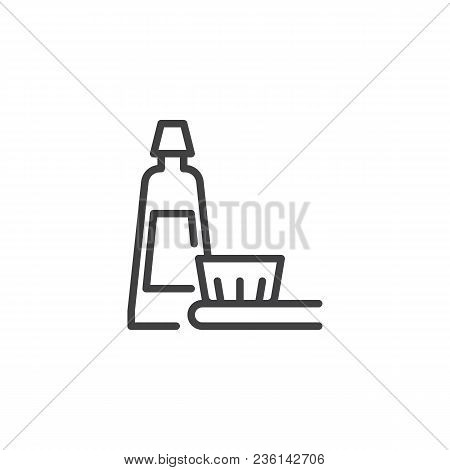 Toothbrush And Toothpaste Outline Icon. Linear Style Sign For Mobile Concept And Web Design. Oral Hy