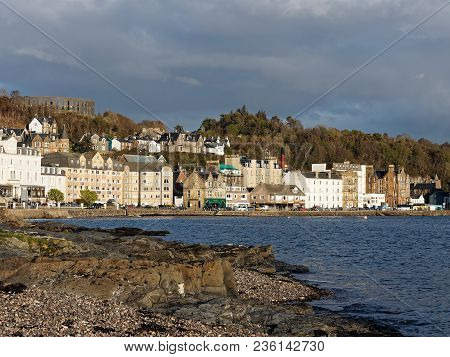 Oban, Scotland,may-7,2015, View Of The Harbor Town Of Oban, In Argyll And Bute, Known As The Seafood