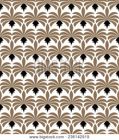 Art Deco Seamless Pattern. Geometric Floral Decorative Texture. Vector Leaves Stylish Background.