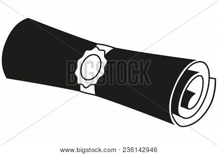 Black And White Sealed Diploma Scroll Silhouette. Graduation Vector Illustration For Gift Card Certi
