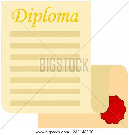 Colorful Cartoon Open Diploma Scroll. Graduation Vector Illustration For Gift Card Certificate Stick