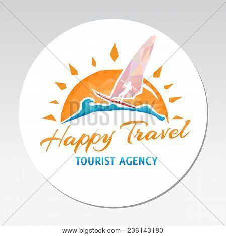 Logo Travel Sign Happy Surfing Sport Sun