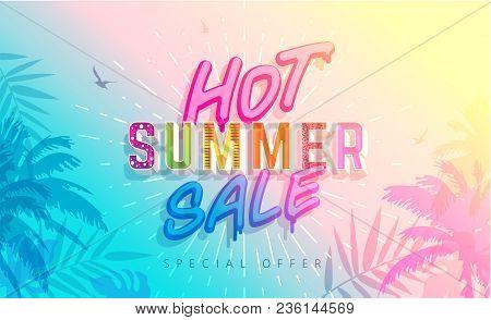 Hot Summer Sale Banner. Trendy Texture. Season Vocation, Weekend, Holiday Logo. Summer Time Wallpape