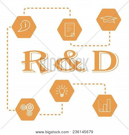 Research And Development Concept. Graduate Cap, Document, Information Icon, Gears, Idea In Bulb Shap
