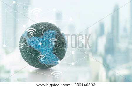 Mock Up The Global With Digital Wifi Internet Network On City Background. Concept Of Global Connect,