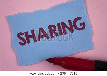 Writing Note Showing  Sharing. Business Photo Showcasing To Share Give A Portion Of Something To Ano