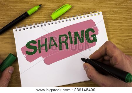 Conceptual Hand Writing Showing Sharing. Business Photo Text To Share Give A Portion Of Something To