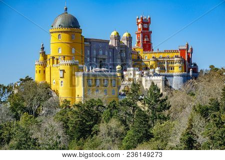 The Impressive Palace Da Pena. Sintra, Lisbon. Portugal