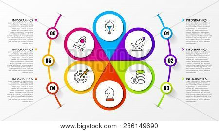 Infographic Design Template. Business Concept With 6 Steps. Can Be Used For Workflow Layout, Diagram