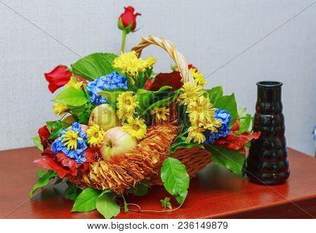 Backgrounds. Fruit Basket. Still-life. Vase. Foliage. Flowers. Fruit And Flower Basket.