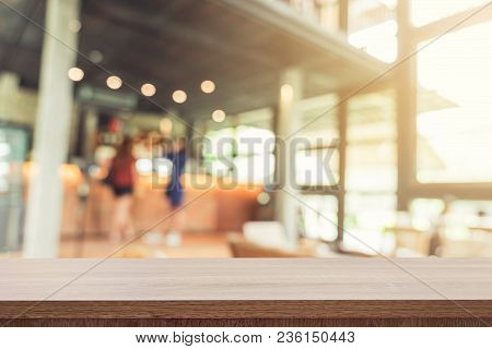 Empty Wood Table And Blurred Background : Customer At Coffee Shop Blur Background With Bokeh, Vintag