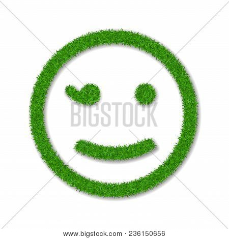 Green Grass Face Wink Smile. Smiley Grassy Emoticon Icon, Isolated White Background. Happy Smiling S
