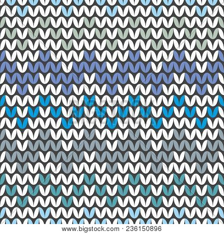 Tile Blue And Grey Zig Zag Knitting Vector Pattern Or Winter Background