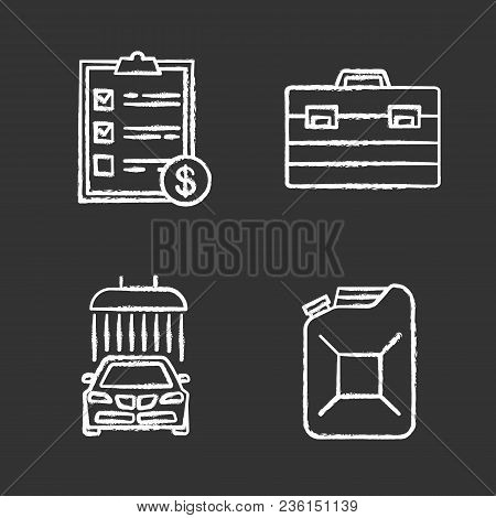 Auto Workshop Chalk Icons Set. Car Washing, Steel Jerry Can, Invoice, Construction Toolbox. Isolated