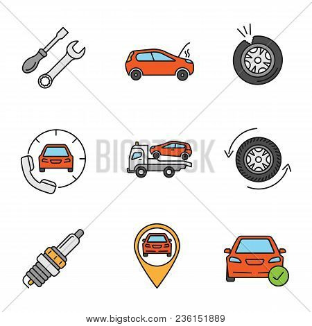 Auto workshop color icons set. Screwdriver and spanner, broken car, punctured tire, roadside assistance, tow truck, wheel changing, spark plug, gps, total check. Isolated vector illustrations poster