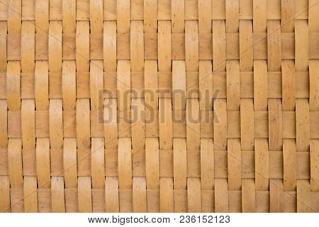 Traditional Thai Style Pattern Nature Background Of Brown Handicraft Weave Texture Wicker Surface Fo