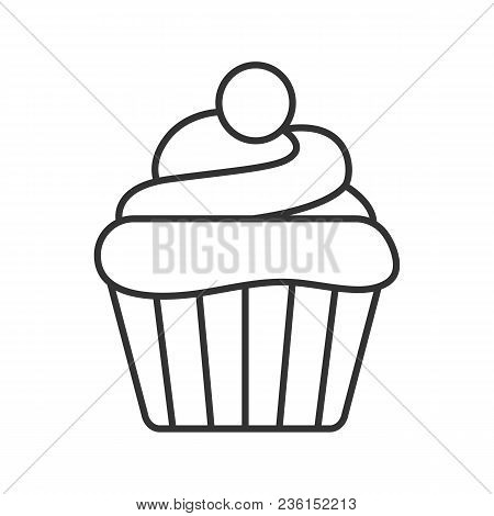 Cupcake Linear Icon. Thin Line Illustration. Muffin. Contour Symbol. Vector Isolated Outline Drawing