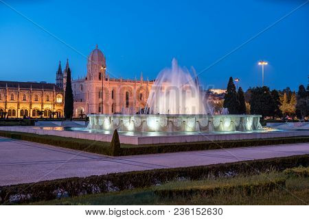Monastery Of The Hieronymites And Fountain At Night. Lisbon, Portugal