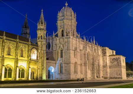 Facade Of The Jeronimos (hieronymites) Monastery In The Belem District Of Lisbon Illuminated At Nigh