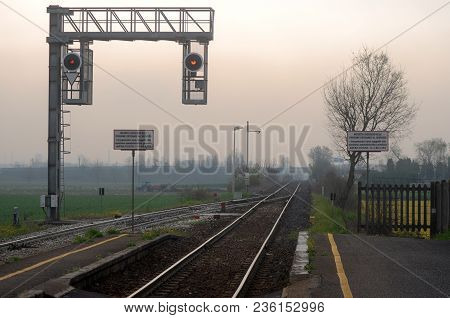 A Small Train Station In The Heart Of The Lombardy Plain - Italy