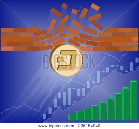 Dash Coin Breaks Through The Wall Resistance With Growth Chart On A Blue Background , The Price Of C