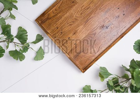 Wooden Tray With Branches Flat Lay Top View