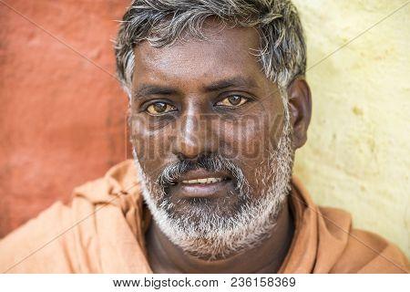 Tiruvannamali, Tamil Nadu, India - March Circa, 2018 . Portrait Sadhu At Ashram Ramana Maharshi. Sad