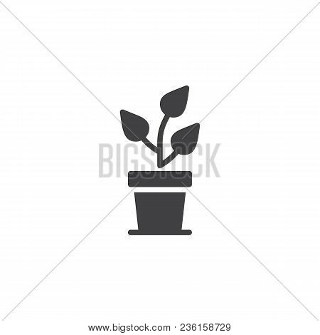 Growing Tree In Pot Vector Icon. Filled Flat Sign For Mobile Concept And Web Design. Potted Plant Si
